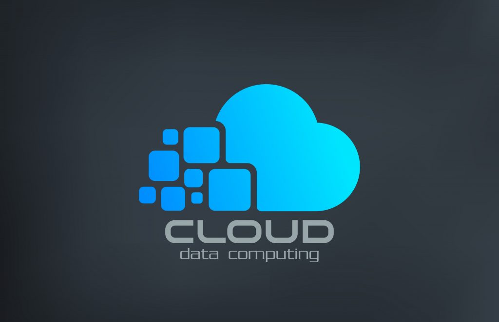 Cloud computing technology vector logo design template. Data transfer creative concept icon.